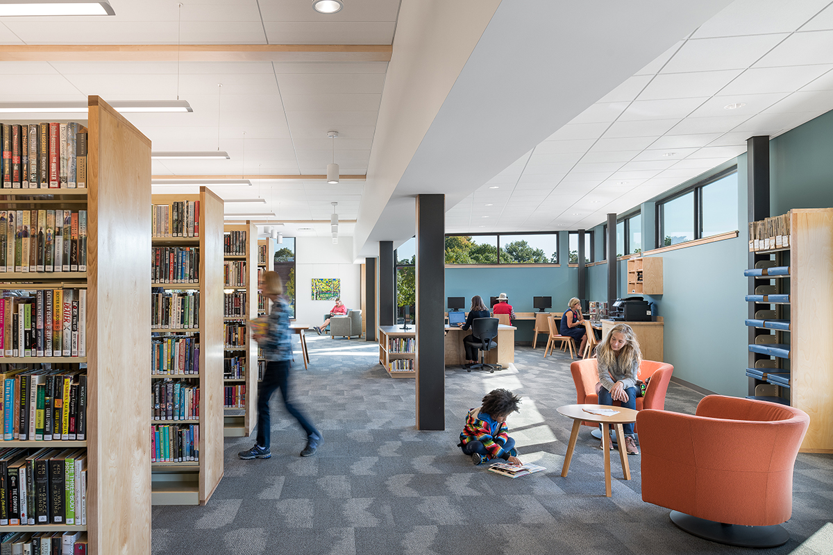 Pierson Library interior with patrons using the library space