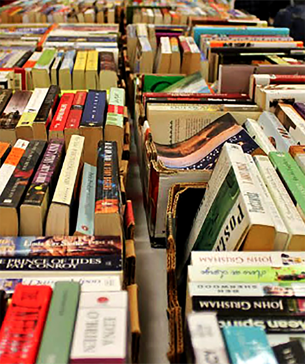 Table of books at a book sale