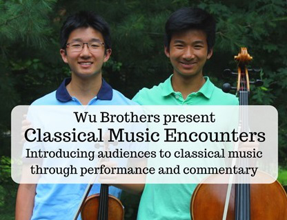 Wu Brothers with their stringed instruments for Classical Music Encounters