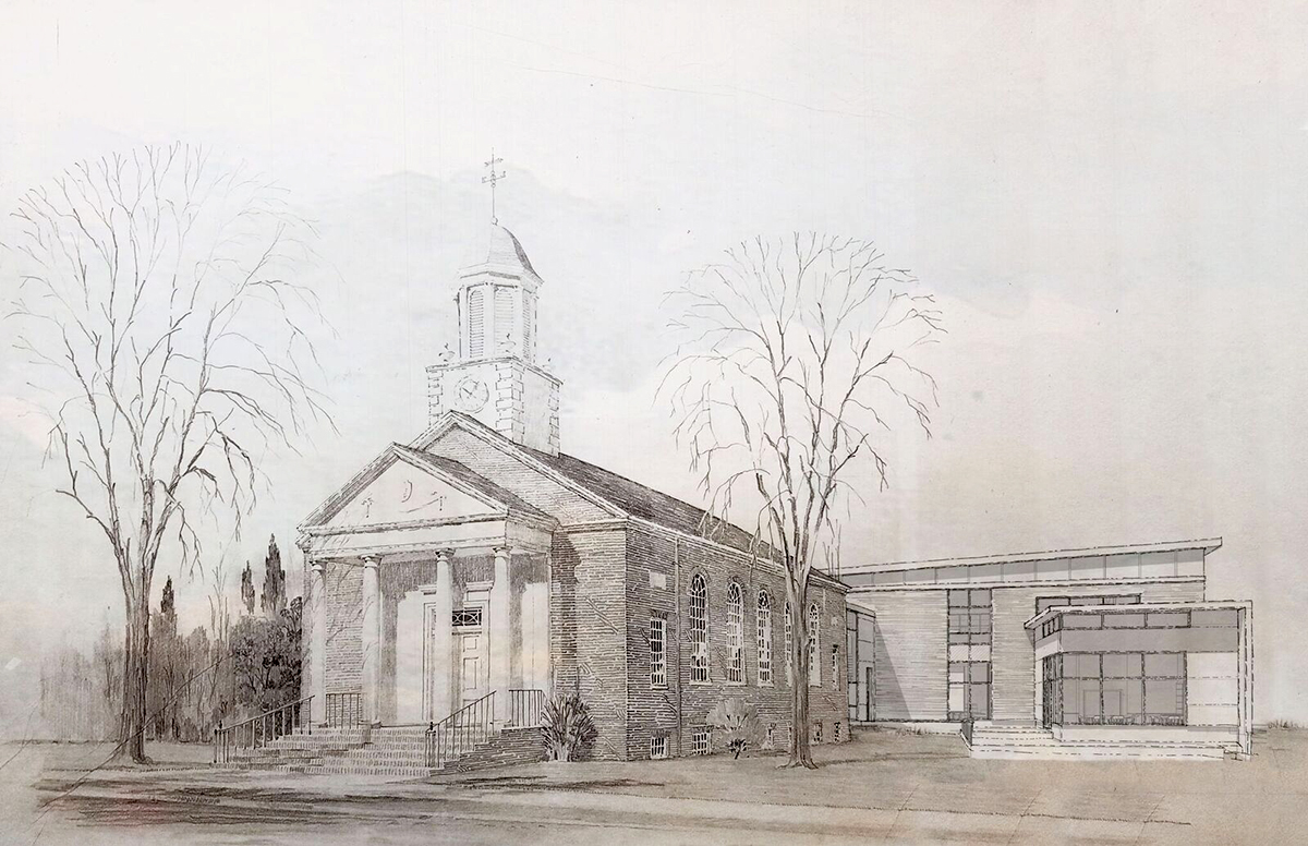 Line drawing of Historic Town Hall and the new Pierson Library